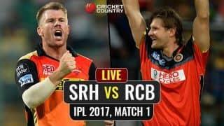 LIVE IPL 2017 Score, Sunrisers Hyderabad vs Royal Challengers Bangalore IPL 10, Match 1: RCB lose