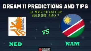 Dream11 Team Netherlands vs Namibia ICC Men's T20 World Cup Qualifiers – Cricket Prediction Tips For Today's T20 Match 7 Group A NED vs NAM at Dubai