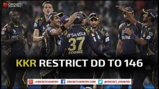 Kolkata Knight Riders restrict Delhi Daredevils to 146 in IPL 2015