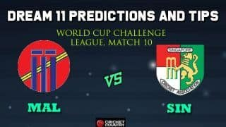MAL vs SIN Dream11 Team Malaysia vs SINGAPORE, Match 10, World Cup Challenge League – Cricket Prediction Tips For Today's Match MAL vs SIN at Kuala Lumpur