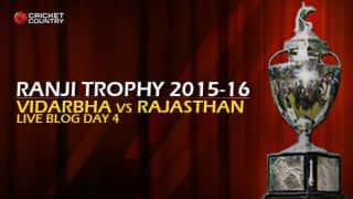 VID 199/2   Live Cricket Score, Vidarbha vs Rajasthan, Ranji Trophy 2015-16, Group A match, Day 4 at Nagpur; Vidarbha beat Rajasthan by 8 wickets