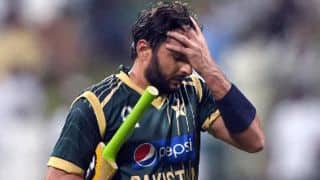 Shahid Afridi signals for a review in the Bangladesh vs Pakistan 2015, one-off T20 at Dhaka