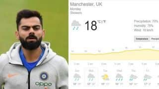 India vs Pakistan Manchester Weather Update: IND vs PAK rain forecast, match 22: Rain arrives in Manchester, match halted