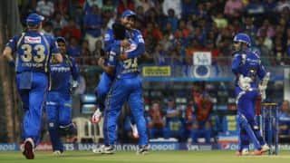 Yuvraj Singh dismissed in the IPL 2015 encounter between DD and RR