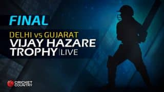 DEL 134 in Overs 32.3 | Live Cricket Score, Vijay Hazare Trophy 2015-16, Delhi vs Gujarat, final at Bengaluru: Gujarat win by 139 runs