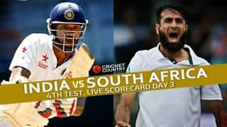 Live Cricket Scorecard: India vs South Africa 2015, 4th Test at Delhi, Day 3