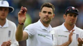James Anderson became the first England bowler to take 100 Test wickets against two teams
