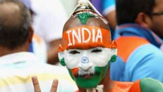 Sudhir Kumar cheers India during match against South Africa in ICC Cricket World Cup 2015