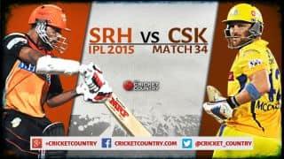 Live Cricket Score Sunrisers Hyderabad vs Chennai Super Kings, IPL 2015 Match 34 at Hyderabad CSK 170/6 in 20 Overs: SRH win by 22 runs
