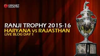 RAJ 75/1 | Live Cricket Score, Haryana vs Rajasthan, Ranji Trophy 2015-16, Group B match, Day 1 at Rohtak: Stumps; Rajasthan trail by 37 runs