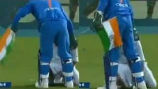 VIDEO: MS Dhoni shows love for country, snatches Indian flag when fan rushes to touch his feet