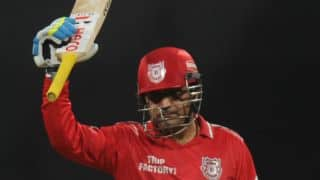 Virender Sehwag scores blazing 47-ball 100 in MCL 2016 for Gemini Arabians