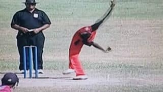 Watch: Spinner with weird bowling action makes debut for Sri Lanka