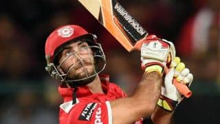 Glenn Maxwell dismissed for 6 in Kings XI Punjab vs Chennai Super Kings in IPL 2015 Match 53 at Mohali